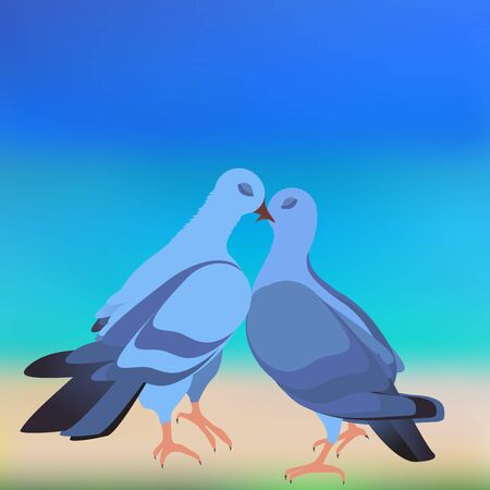 pictured: The cooing doves pictured on the background of the beach Illustration