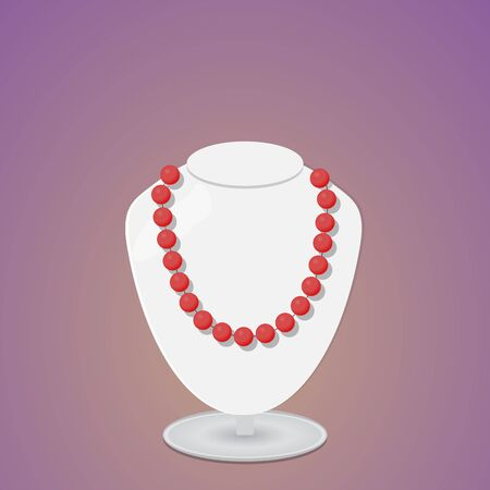 Red beads on a light gray exhibition bust.
