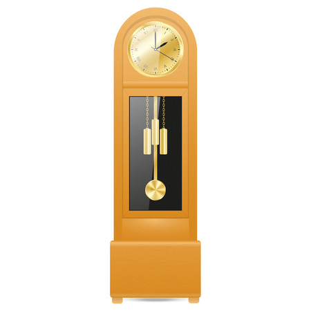 grandfather clock in a wooden case with a gold-colored metal parts