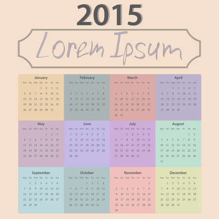 alendar of 2015 executed in pastel tones. Illustration