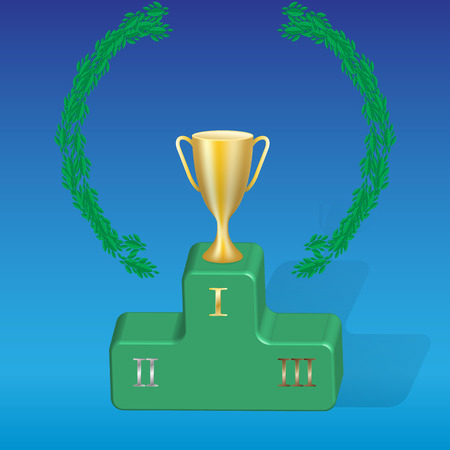 gold cup: Gold cup and threedimensional pedestal represented on a blue background.