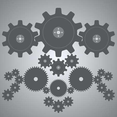 heavy industry: Gears depicted in gray tones.