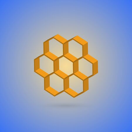 harmonious: Honeycombs represented on a harmonious blue background.
