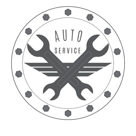 auto service: Emblem of auto repair shop executed in vintage style. Illustration