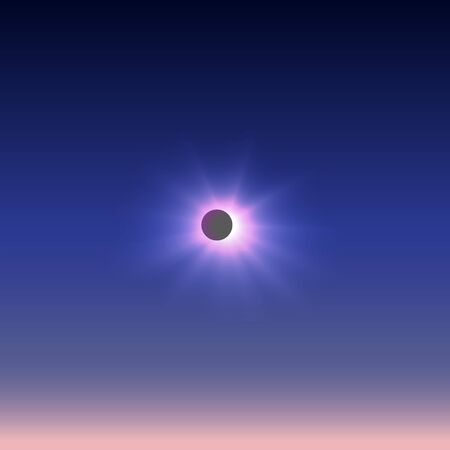 horizon reflection: The incomplete solar eclipse represented against the dark sky passing into a pink azure.