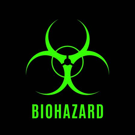 The sign of biological danger executed in acid green color on a black background. Illustration