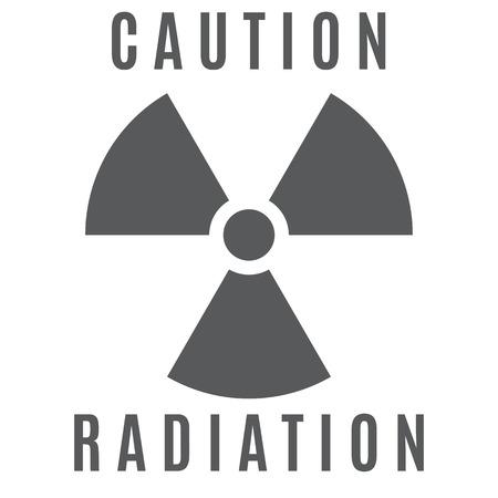 hazardous area sign: El signo de peligro radiactivo ejecutado en color gris y situado sobre un fondo blanco.