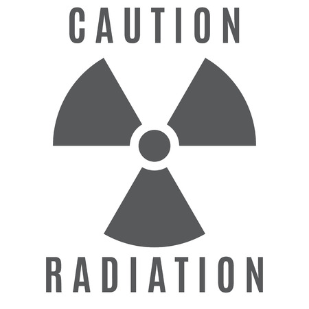 uranium: The sign of radioactive danger executed in gray color and located on a white background.