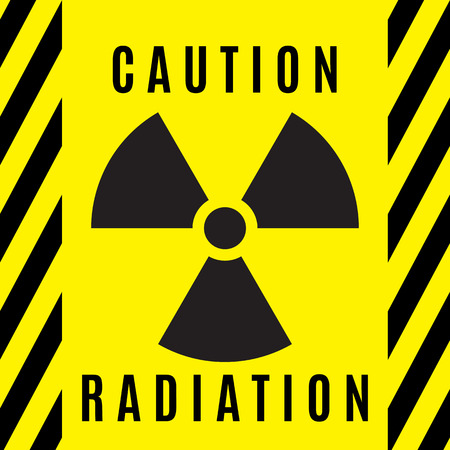 The sign of radioactive danger executed in black color and located on a yellow background. Illustration