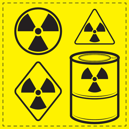dangerous construction: Four design variants radioactive danger sign.