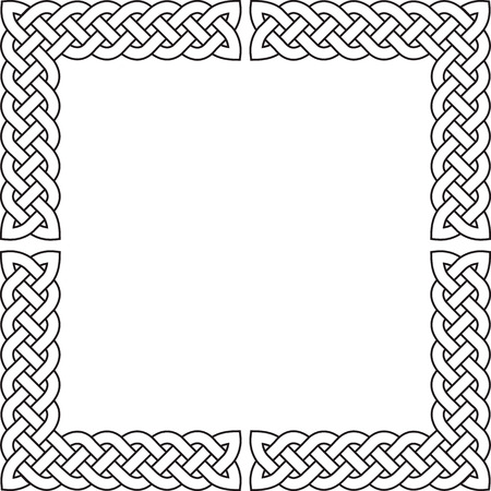 gaelic: Patten frame from corners executed in black-and-white color. Illustration