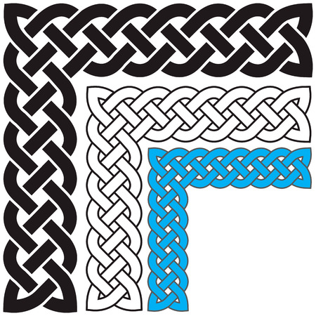 weaved: Celtic pattern in the form of the weaved braid a set in different colors. Illustration