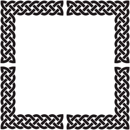 Patten frame from corners executed in black-and-white color. Ilustração