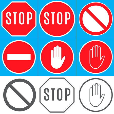 Prohibitory signs: Stop; Other hazards; No entry; unauthorized entry is prohibited. 向量圖像
