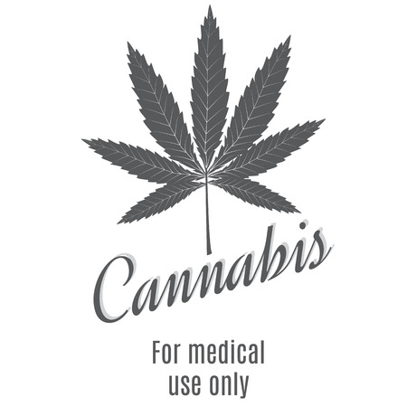 weeds: Cannabis leaf on a white background. Illustration