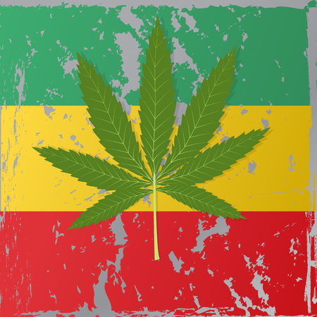 cannabis leaf: Cannabis leaf on the background of the Rastafarian flag. Illustration