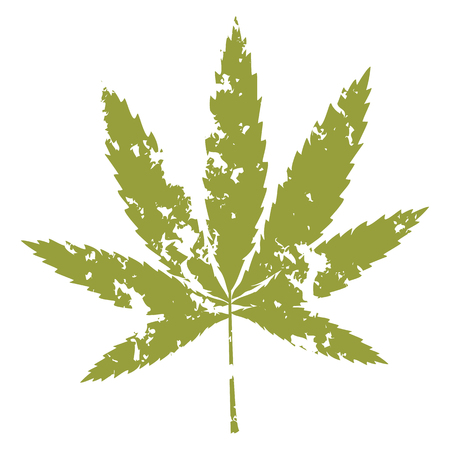 Imprint cannabis leaf on a white background. Element for design.