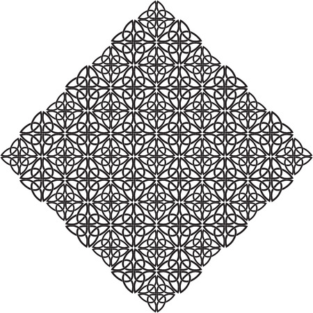 The black-and-white rhombus consisting of a Celtic pattern of shamrocks. Element for design.