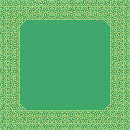 Frame consisting of a Celtic pattern of shamrocks. Element for design.