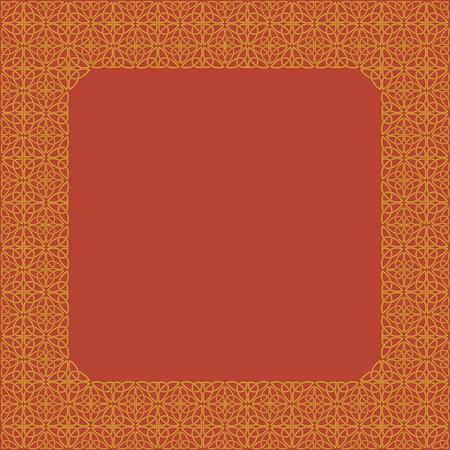ethno: Golden frame consisting of a Celtic pattern of shamrocks. Element for design.