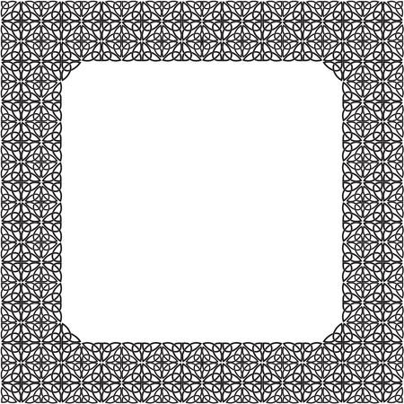 Black-and-white frame consisting of a Celtic pattern of shamrocks. Element for design. Illustration
