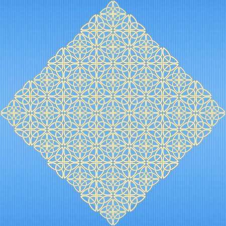 ethno: The golden rhombus consisting of a Celtic pattern of shamrocks. Element for design.