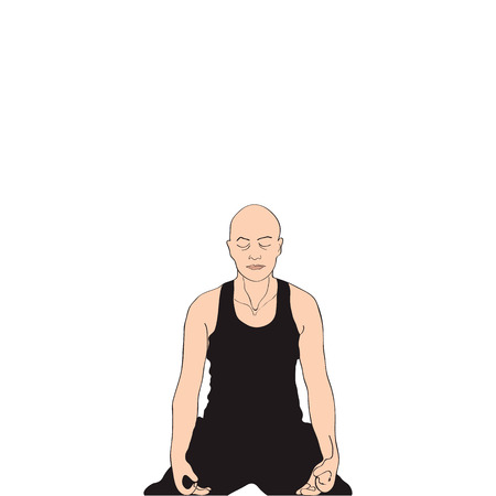 sitting meditation: The man sitting in a pose for meditation represented on a white background.