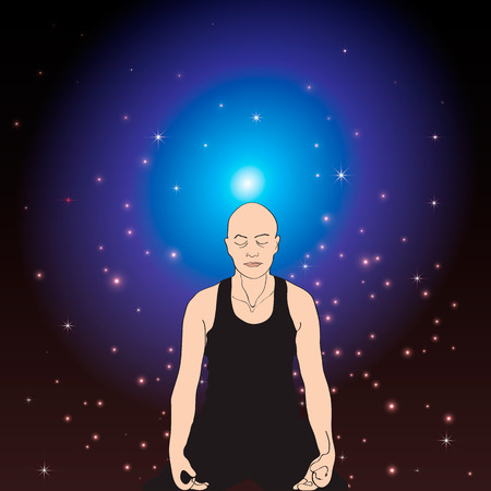 meditation man: The man sitting in a pose for meditation represented against space.