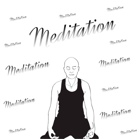 meditation man: Picture of the man sitting in a pose for meditation and executed in black-and-white color.