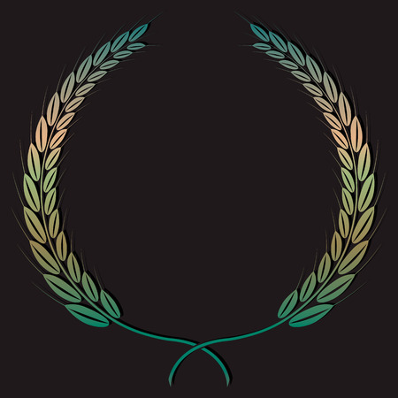 wheaten: The wheaten wreath drawn with paint of color of copper with a patina. Illustration