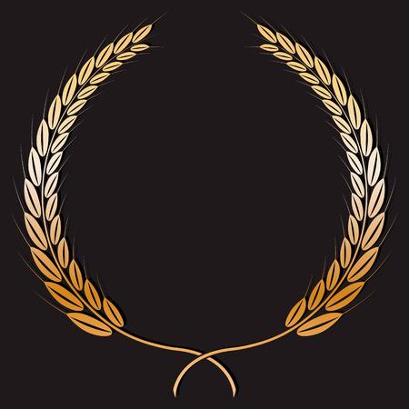 Wheat wreath painted gold paint. Ilustracja