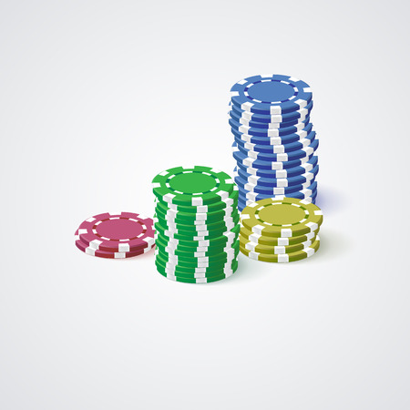 Casino chips presented on a white background. Illustration