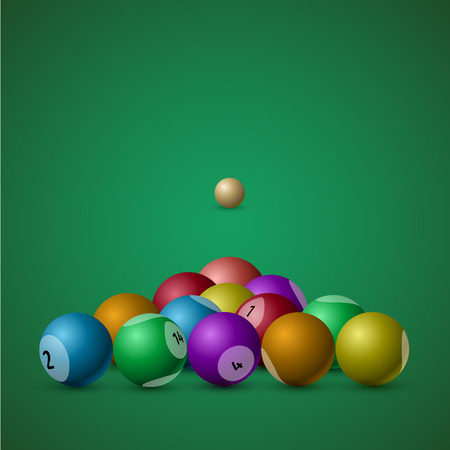 presented: The billiard balls presented on a green background. Illustration