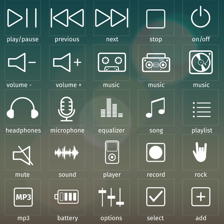 Set of simple audio icons. For your business presentation.