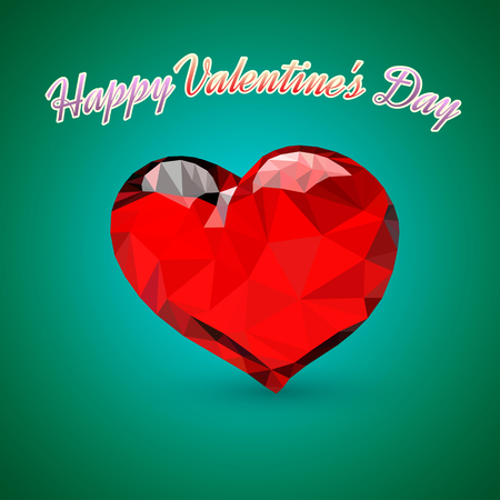 The triangular heart presented on a green background. The picture by St. Valentines Day.