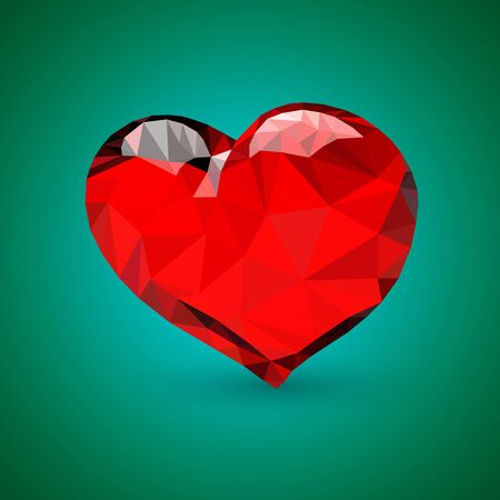 two dimensional: The triangular heart presented on a green background. Illustration
