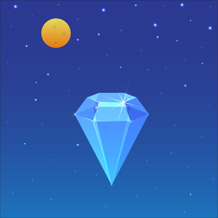 scintillation: Blue crystal on the background of a starry sky. For your business presentation.
