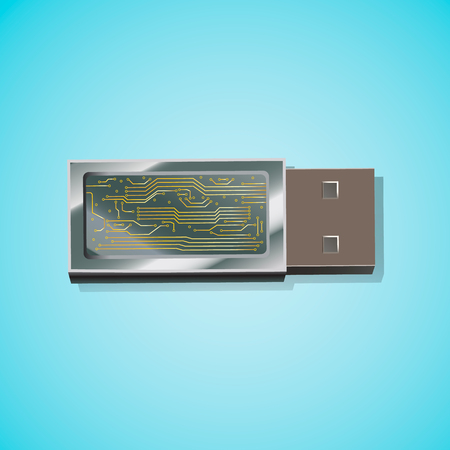 USB flash drive shown in a light blue background. Stock Illustratie