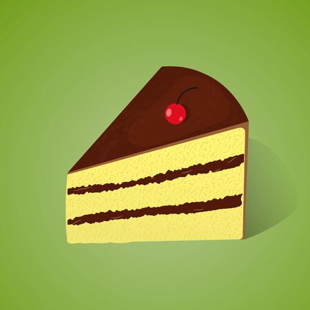 Piece of chocolate and lemon cake on the green background.