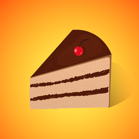 morsel: Piece of chocolate cake on the yellow-orange background. Illustration