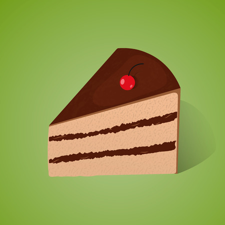 Piece of chocolate cake on the green background.  イラスト・ベクター素材