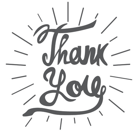 Lettering Thank you. Vector illustration.