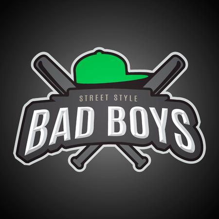 Bad boys. Modern vector emblem on youth subjects. Stock Vector - 59742726