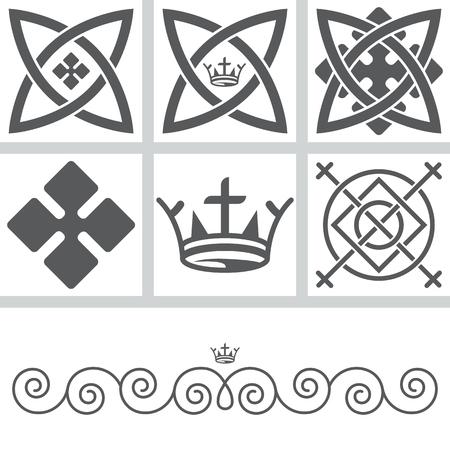 Set di elementi per la progettazione stilizzata sotto i modelli celtiche. Archivio Fotografico - 59806210
