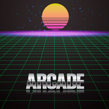 simulator: Background in style arcades the 80s. Illustration