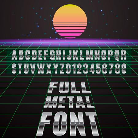 chromed: Full metal font. Stylish font simulating chromed metal.