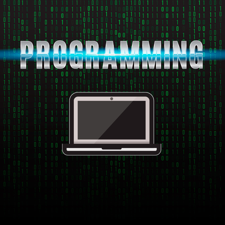 deploy: Illustration on the theme of programming. Laptop on a background of binary code. Illustration