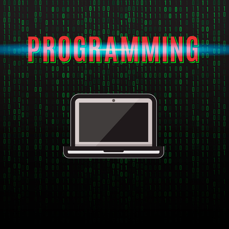 Illustration on the theme of programming. Laptop on a background of binary code. Illustration