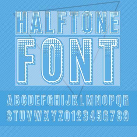 Alfabeto medias, las letras y los números de medias tintas, sans-serif de puntos. Foto de archivo - 60554972