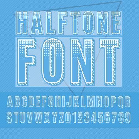 halftone alphabet, halftone letters and numbers, sans-serif dotted font.